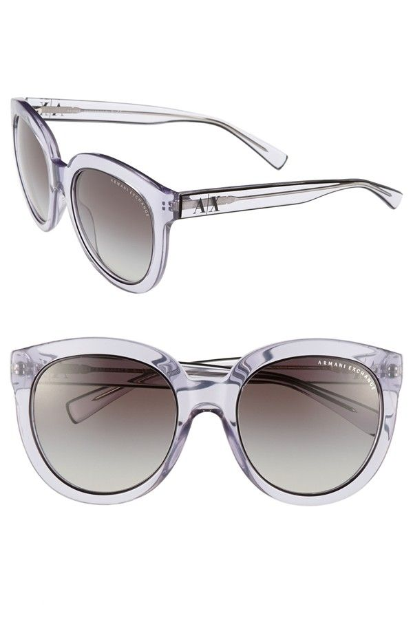 AX Armani Exchange 'Transparent Glam' 53mm Sunglasses in Grey Gradient.