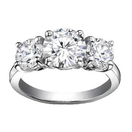 1.25 Ct. F-I3 Round Cut 3-Stone Diamond Engagement Ring