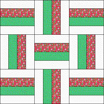 Fence Rail Variation Qult Block pattern - Quiltaholics...This would be so cute in Christmas fabrics.