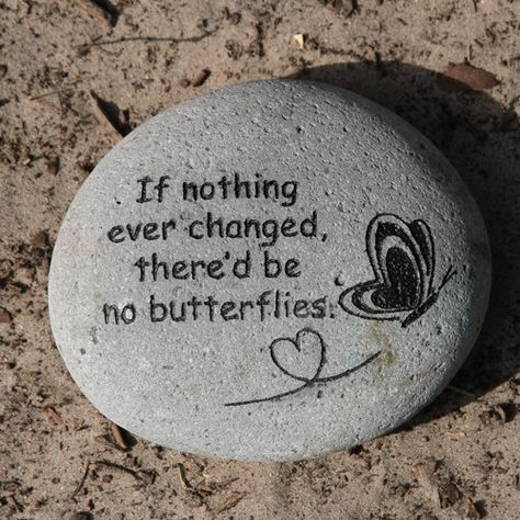 Tekststeen: If nothing ever changed, there'd be no butterflies.