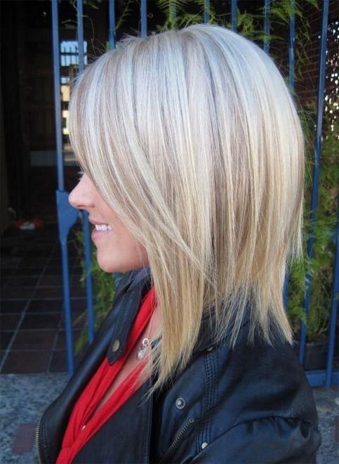 Highlighted Long Bob Hairstyles with Side Bangs