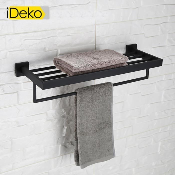 iDeko®Tablette étagère mural de salle de bain et porte serviette En ...