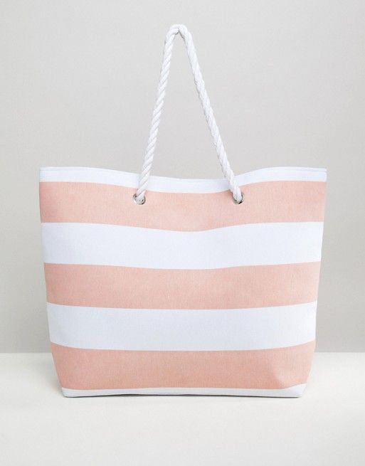 f086acb5ac South Beach Pink Stripe Beach Bag