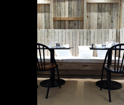 side wall banquette depending on balance of contemoprary and rustic inspiration cafe elle decoration at maison et objet paris