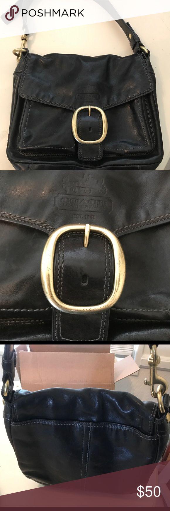 Leather Coach Purse Black leather coach purse Coach Bags Shoulder Bags