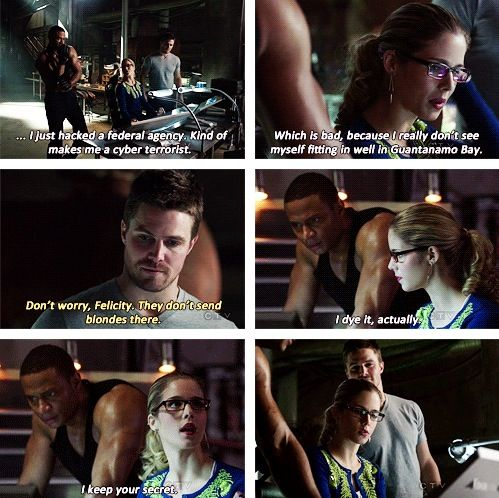 Him checking her roots at the end is one of my very favorite things. #Arrow