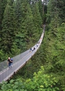 Capilano Suspension Bridge in Vancouver, BC Canada. It includes a cantilevered treetop walkway through a rain forest.