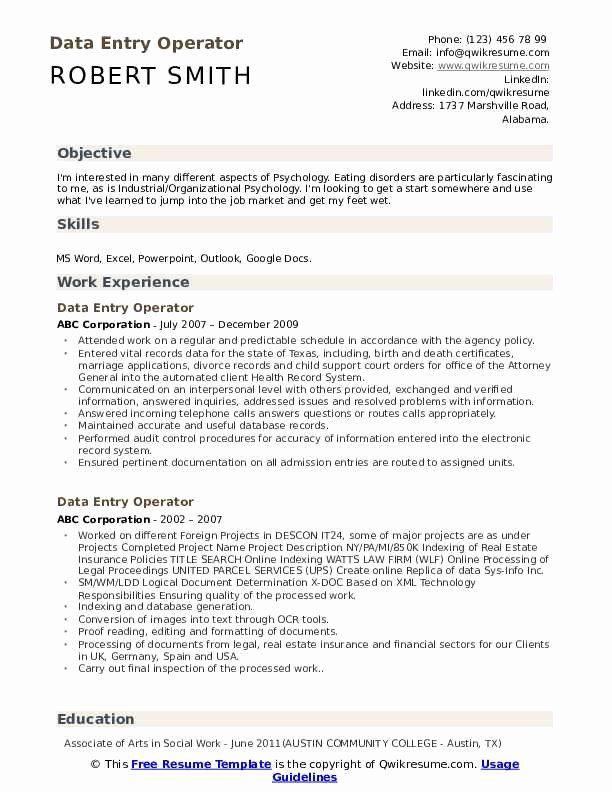 Data Entry Resume Example Best Of Data Entry Operator Resume Samples In 2020 Job Resume Examples Resume Objective Examples Teacher Resume Examples