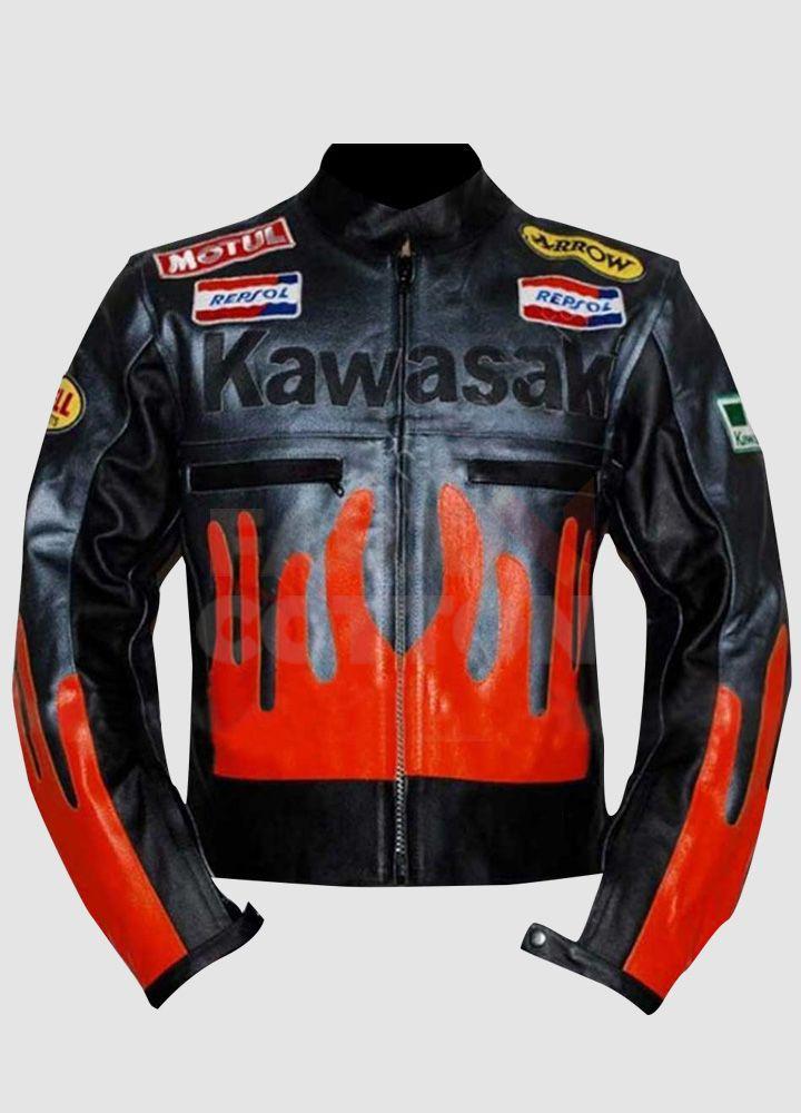 Kawasaki Black Orange Leather Jacket Orange Leather Jacket