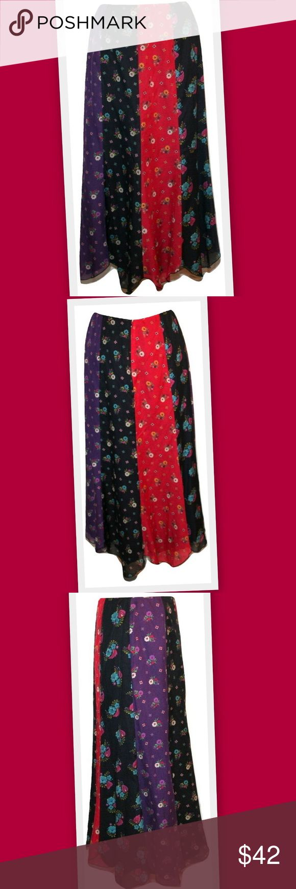 """Anna Sui Patchwork Paneled Maxi Skirt Beautiful patchwork skirt by designer Anna Sui. Contrasting vertical floral print panels. Scalloped hemline. Back zipper. Cotton/ silk voile fabric. Lined. Hits approximately above the ankles, depending on your height.  Made in USA   68% cotton 32% silk   Marked size 4 Waist 28"""" Hips 38"""" Length 34 1/2"""" Anna Sui Skirts Maxi"""