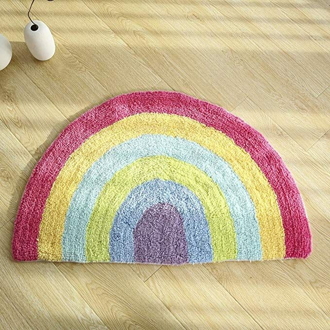 Rainbow Doormat Non Slip Doormat Indoor Outdoor Rainbow Rug Long Lasting Colorful Super Soft Warm Cotton Luxury Plush Mat Semi Rainbow Rug Plush Mat Door Mat