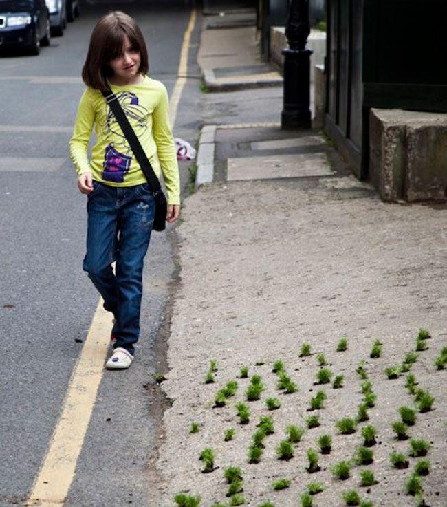 street art by Steve wheene http://restreet.altervista.org/steve-wheen-ripara-le-buche-stradali-con-mini-giardini/
