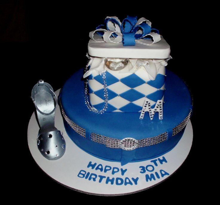 Birthday Cakes - Denim & Diamonds Cake w/silver & bling shoe