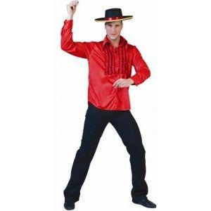 Déguisement chemise espagnol rouge homme à ruches, danse, flamenco, danseur espagnol, Espagne