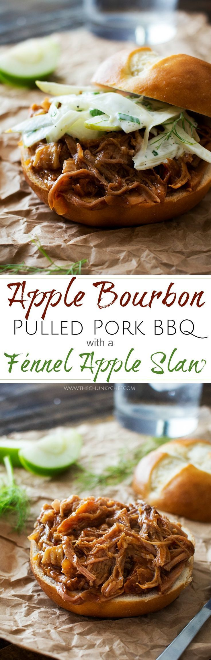 Apple Bourbon Pulled Pork Sandwiches | The Chunky Chef | Soft pretzel buns filled with tender, juicy apple bourbon pulled pork and topped with a refreshing apple fennel slaw. The King of pulled pork sandwiches!