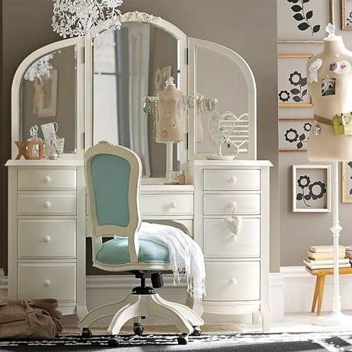 elegant bedroom vanity teenage girls rooms furniture (love the grey walls) Ari