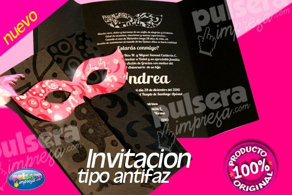 Invitacion tipo antifaz | 15 años | Pinterest