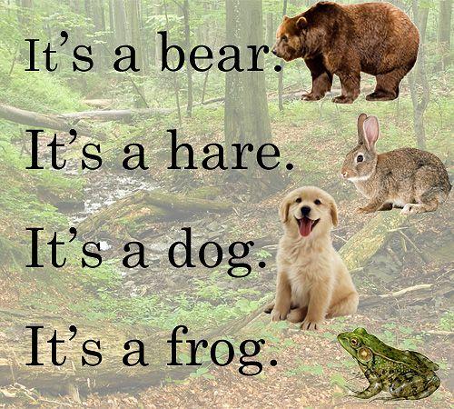 Простая рифмовка поможет запомнить английские слова: bear, hare, dog, frog