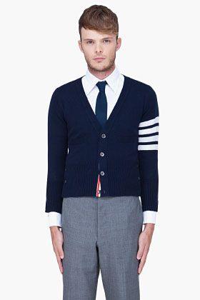 THOM BROWNE Navy Striped Cashmere Cardigan: Bold Strip, Browne Aw, Sweater Cardigan, Thom Browne, Browne Navy, Cashmere Cardigan, Thombrowne
