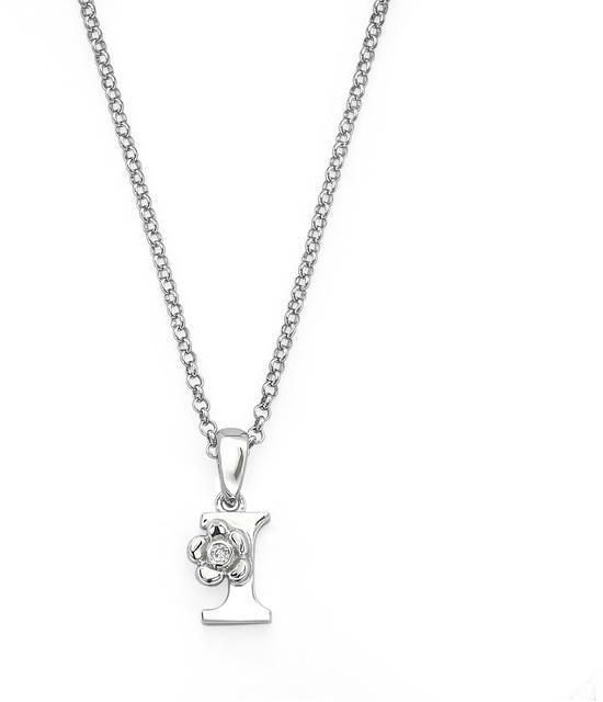 "Little Diva Diamonds Little Diva Silver Initial ""I"" Necklace with Diamond Accents for Children"