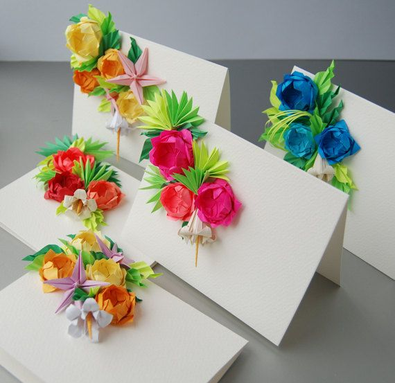 Roses Origami Greeting Cards - this set of cards would make perfect gifts for Mother's Day, Easter, and birthdays for friends!