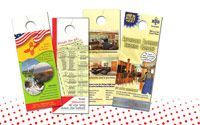 Let your market know that you are working hard in their neighborhood with custom door hangers!