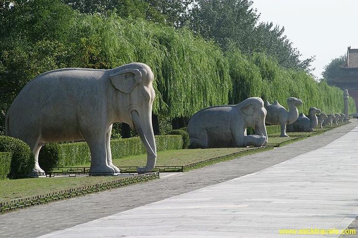 Elephant statues. Sacred Way, Beijing China