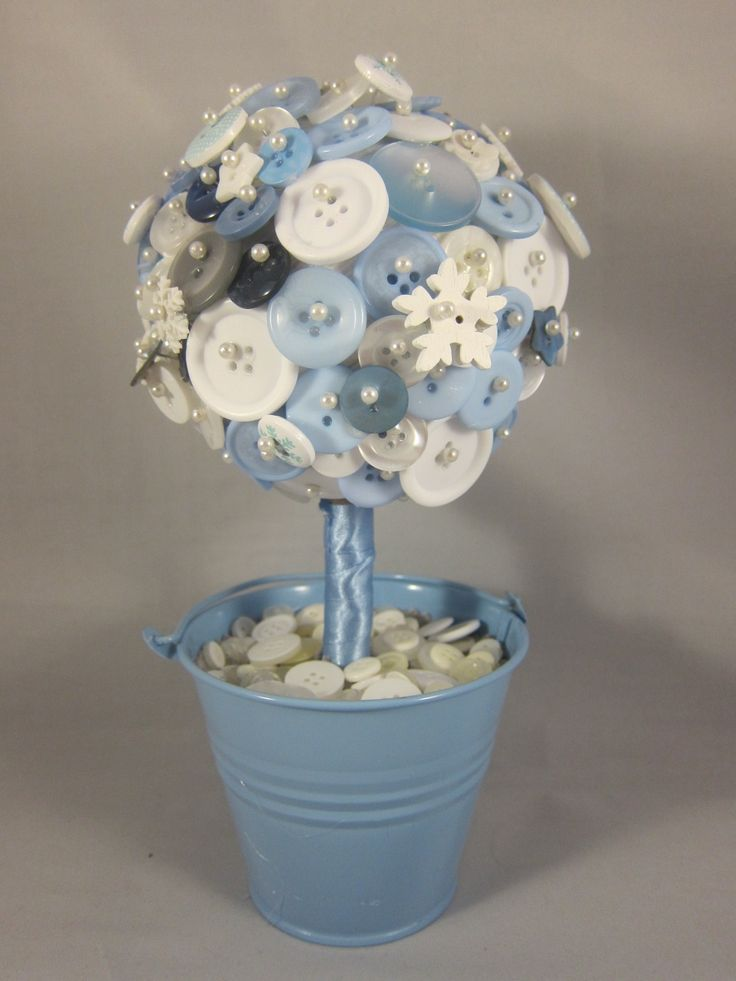 A beautiful button topiary tree centrepiece