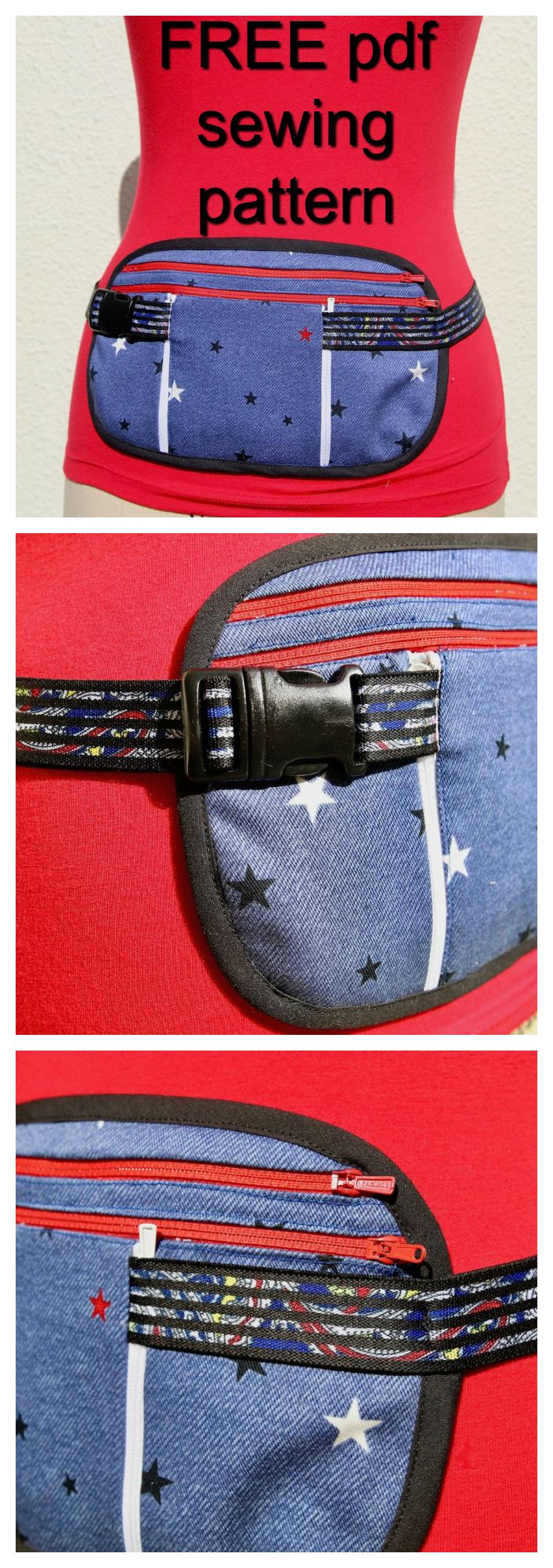 FREE downloadable pdf pattern for the DIY Money & Travel Belt. Here's a pattern for a running belt with pockets and an elasticized adjustable strap so you can tailor it to any waist size. This pouch could also be called a money belt, travel belt or sports belt. Place the pouch on your front or back and cover it with a T-shirt and no one will even know it is there. There is enough room for a big phone, money, keys and even coins.