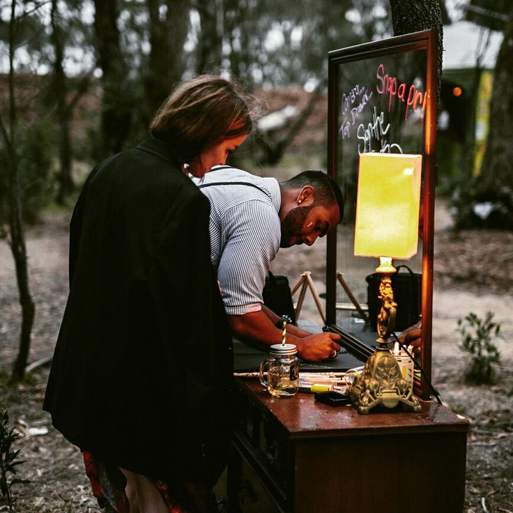 Beautiful vintage dresser and lamp as the guest book table. #wedding #outdoor #beautiful #bohemian #boho #rustic #festivalwedding #outdoorwedding #signin #party #forest #bushparty #lightingideas #unique #events #function #garden #gathering #eventstyling #hire #eventhire #stetched_events #friends #lighting #decor #love #engagement