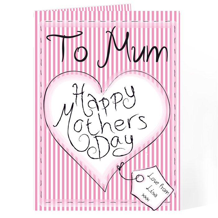 Happy Mother's Day Card - Heart Stitch from personalised-by-you.com - This Happy Mother's Day Card can be personalised with a name and message on the front and a 5-line message inside.