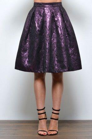Lana Brocade Shimmer Skirt in Purple