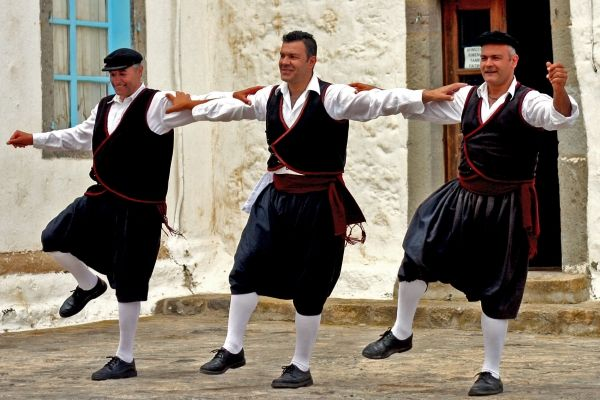 Traditional dancing in the square of Chora, Patmos island