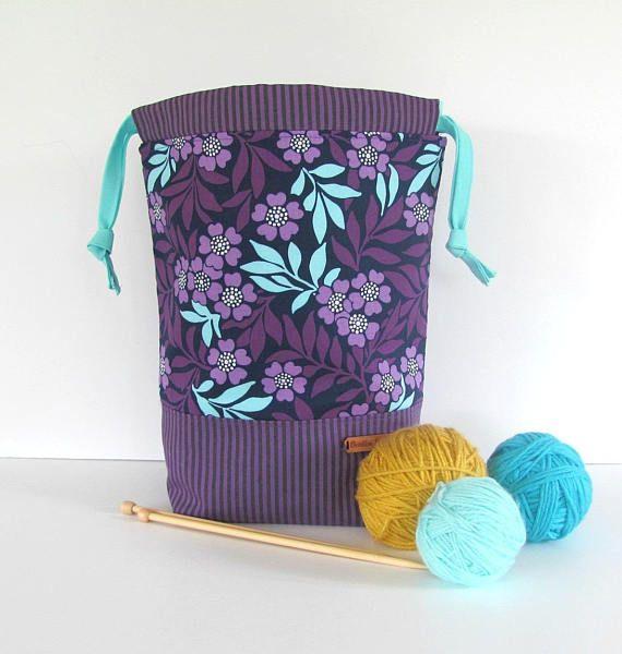 large knitting bag, purple aqua drawstring project bag, crochet or knitting yarn bg