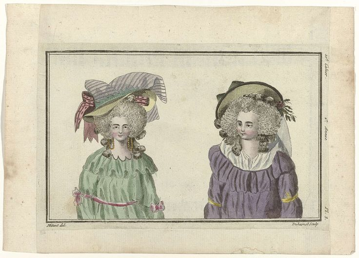 A.B. Duhamel   Magasin des Modes Nouvelles Françaises et Anglaises, 20 février 1787, Pl.  3, A.B. Duhamel, Buisson, 1787   Twee vrouwenbustes met op het hoofd een strohoed versierd met linten (links) en een strohoed versierd met kunstbloemen (rechts). De prent maakt deel uit van het 10e Cahier, 2e année, uit de serie Magasin des Modes Nouvelles Françaises et Anglaises. De serie bestaat uit 172 modeprenten, uitgegeven door Buisson, Parijs, 20 november 1786 - 21 décembre 1789. Deze Engelse…