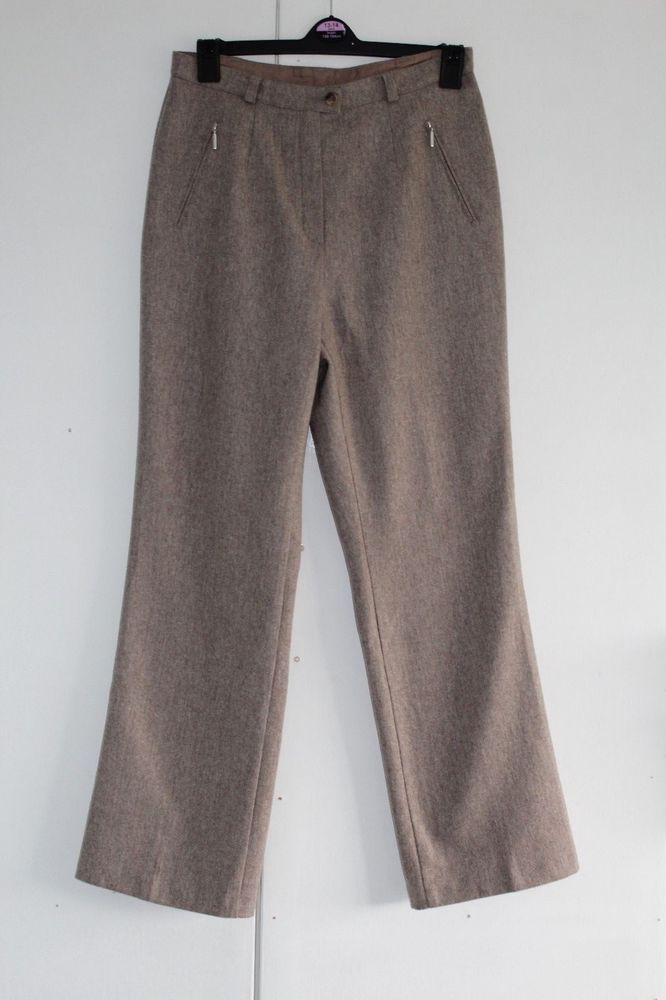 UK 12 M MARKS AND SPENCER Trousers Wool Blend Oatmeal Zip Front Pockets (176) #MarksandSpencer #OtherCasualTrousers