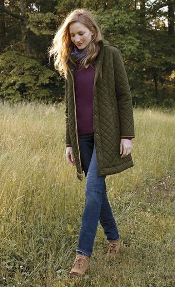 A quilted jacket is a style essential and this is one you'll definitely want to add to your cool-weather coat closet. Offered in a current three-quarter length, our diamond-quilted design in green is finished with handsome faux-suede trim. Stand collar with removable hood. Princess seaming for a feminine silhouette. Plenty of pockets to stow daily carry-alongs. Lightly insulated and fully lined. In green. Polyester. Washable. Imported. <br />Sizes XS(4), S(6-8), M(10-12), L(14-16)…
