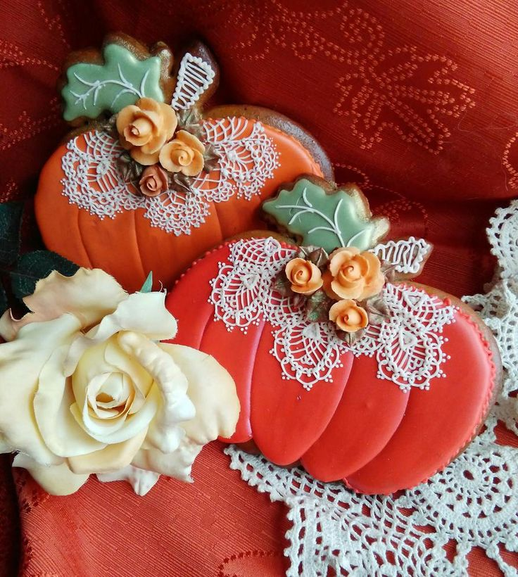 Classic orange pumpkin cookies all dressed up in lace & roses by Teri Pringle Wood, posted on Cookie Connection