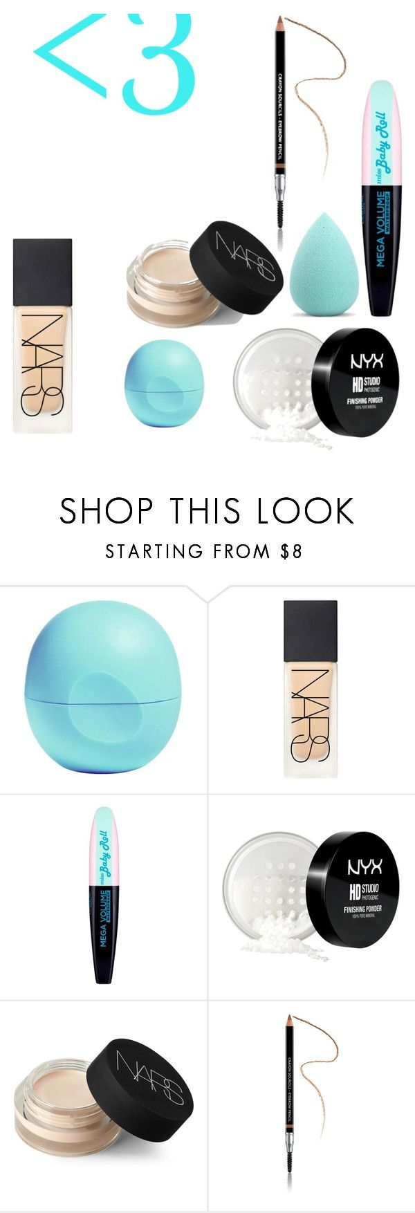 """""""Make-up"""" by coconutlady-573 ❤ liked on Polyvore featuring Eos, NARS Cosmetics, L'Oréal Paris, NYX, Givenchy and My Makeup Brush Set"""