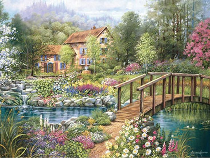 This Counted Cross Stitch Pattern Of A Cottage In Garden Was Created From Painting By Andres Orpinas