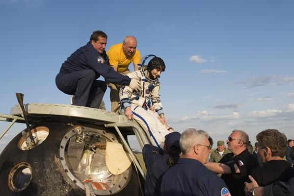 "Out of the Soyuz: felt 500-ton heavy & my internal ""gyroscopes"" definitely needed some recalibration! #JourneyBack"