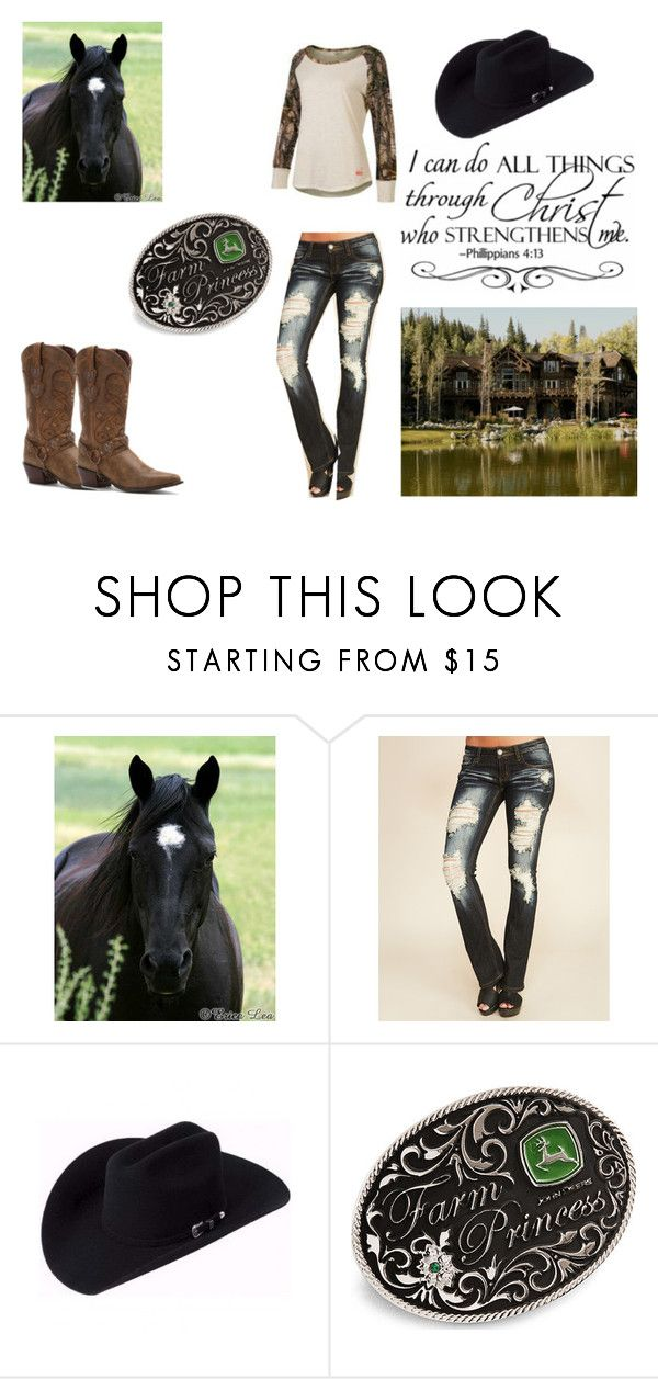 """Going for a ride"" by horses4ever1322 ❤ liked on Polyvore featuring Realtree, Wet Seal, John Deere and Durango"