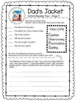 Oxford Reading Tree Stage 4 - Dad's Jacket Close Reading Activity.  Includes sequencing tasks, three writing tasks and a drawing/design task.  Answer sheet included.