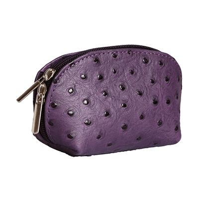 Purple Ostrich Leather Coin Purse - Now with free UK postage!