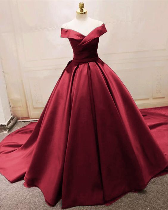 7bcae9d9af9 Satin Ball Gown Elegant Evening Formal Gown Burgundy Wedding Dresses with  off