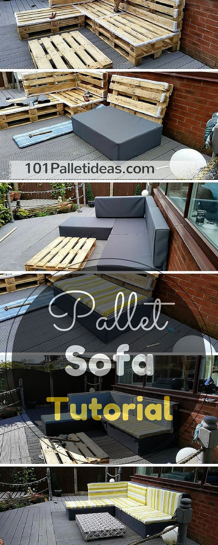 DIY Wooden Pallet #Sofa Tutorial - 100% Reclaimed #Pallets ... Easy to Make.