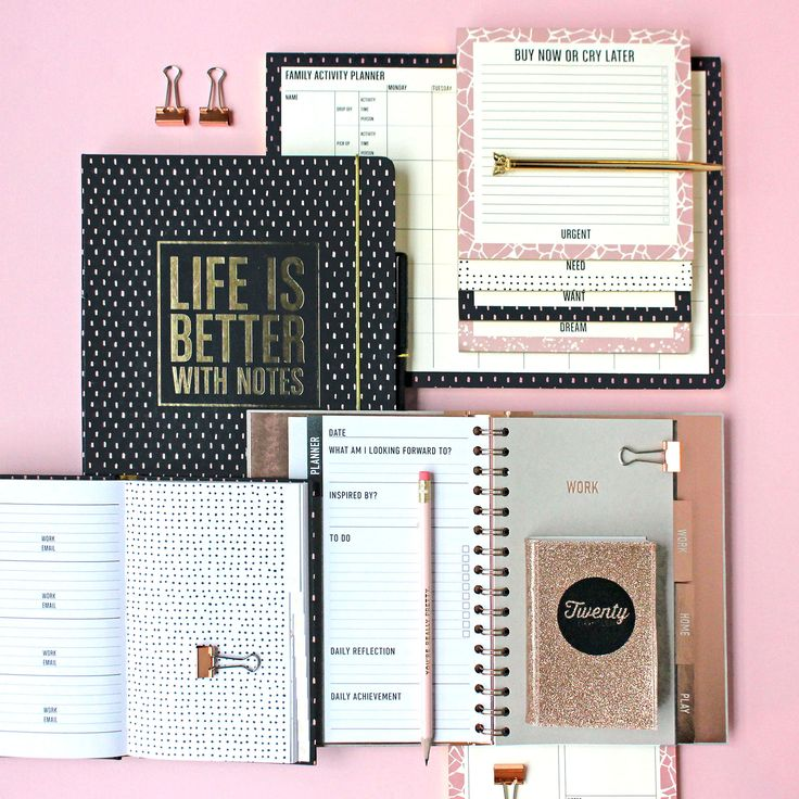 Life is Better with Notes! List pads, desk pads, planners, copper, gold, touches of salmon pink and black. Simply gorgeous, no?