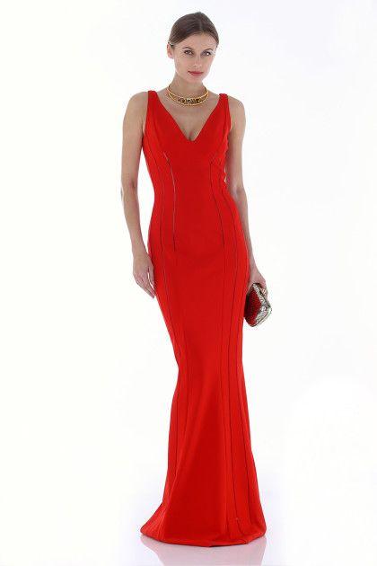 Antonio Berardi non si tradisce mai!  Stupendo questo avvolgente abito a sirena in jersey rosso fiammante!  Noleggialo su drexcode!   Rent it!