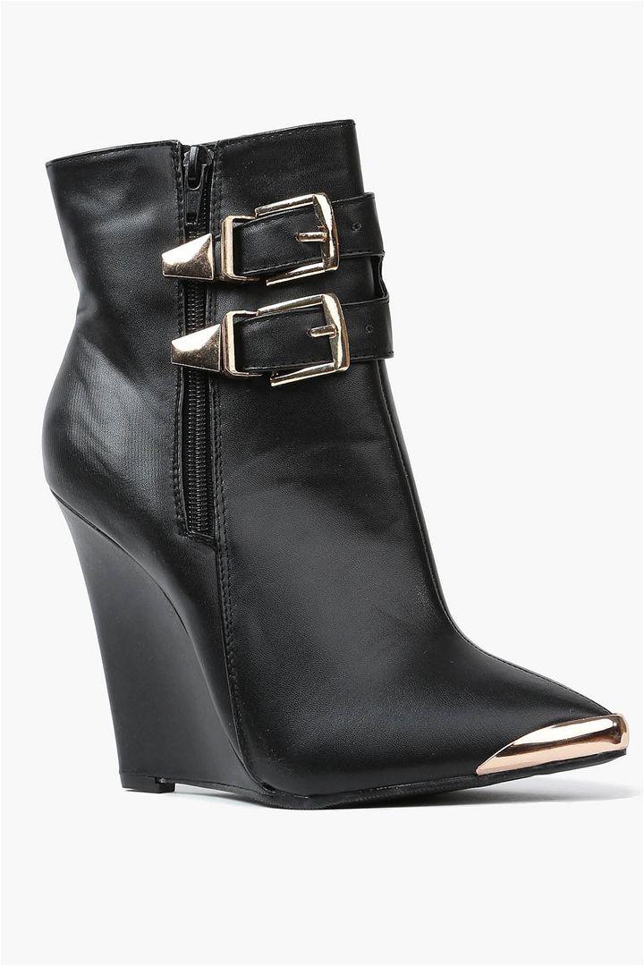 Paulina Wedge Booties in Black