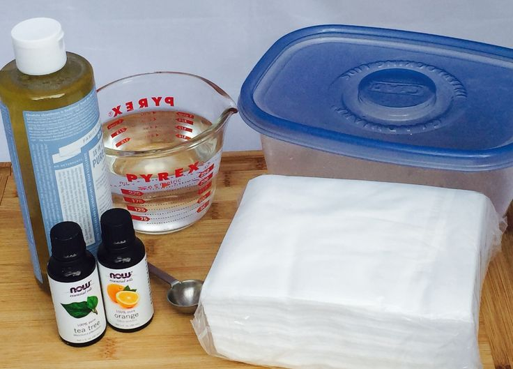 Make your own portable wipes with all natural ingredients